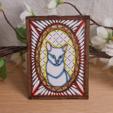 ACEO Framed Russian Blue Cat Zen Tangle Art Card by Briana Blair 2