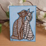 ACEO Kissing Kitties Cat Zen Tangle Art Card by Briana Blair 2
