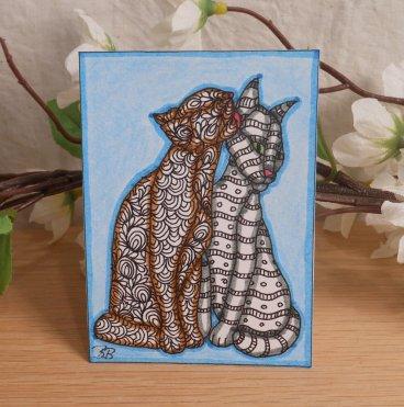 ACEO Kissing Kitties Cat Zen Tangle Art Card by Briana Blair 2