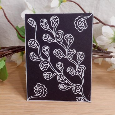 ACEO Lace Leaves Zen Tangle Art Card by Briana Blair