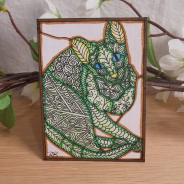 ACEO Mother Earth's Cat Zen Tangle Art Card by Briana Blair 2