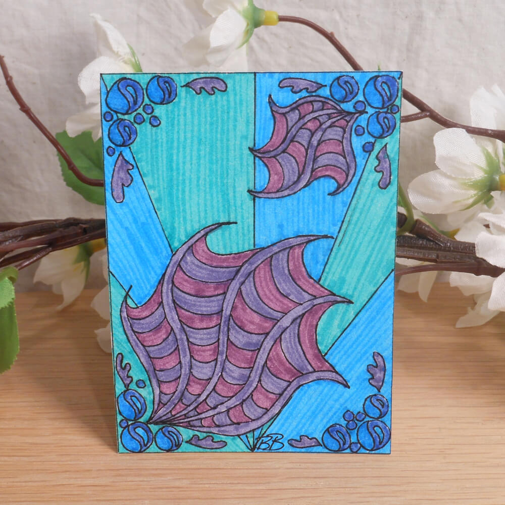 ACEO Ocean Deep Zen Tangle Art Card by Briana Blair