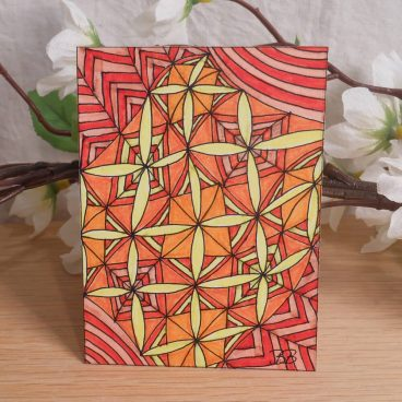 ACEO Orange Madness Zen Tangle Art Card by Briana Blair