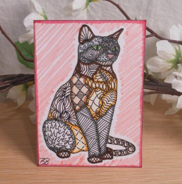 ACEO Sitting Cat With Pink Zen Tangle Art Card by Briana Blair 2