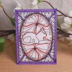 ACEO White Cat Scroll Zen Tangle Art Card by Briana Blair 2