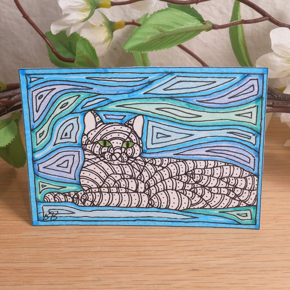 ACEO Windy Cat Zen Tangle Art Card by Briana Blair 2