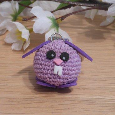 Amigurumi Kawaii Bunny Rabbit Lilac Purple Cute Crocheted Keychain 2