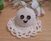 Amigurumi Kawaii Ghost Spirit Variegated Cream Cute Crocheted Keychain