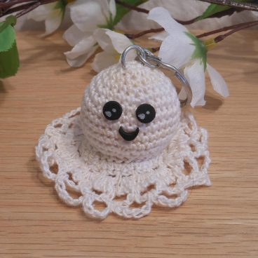 Amigurumi Kawaii Ghost Spirit Variegated Cream Cute Crocheted Keychain