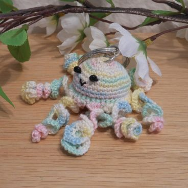 Amigurumi Kawaii Jellyfish Cnidaria Variegated Pastel Cute Crocheted Keychain side