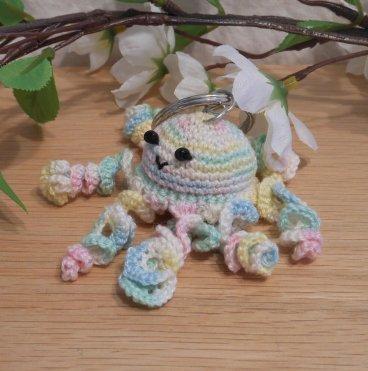 Amigurumi Kawaii Jellyfish Cnidaria Variegated Pastel Cute Crocheted Keychain side