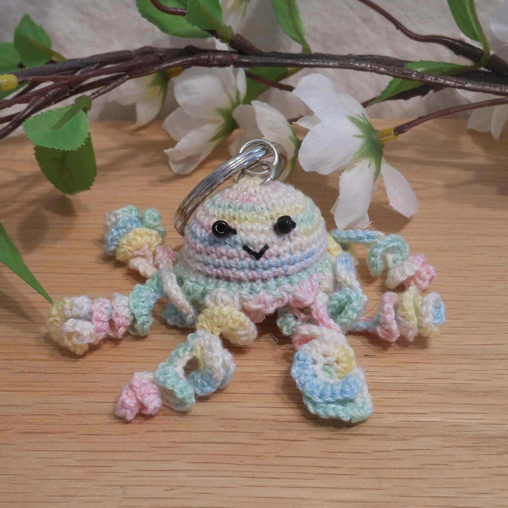 Amigurumi Kawaii Jellyfish Cnidaria Variegated Pastel Cute Crocheted Keychain
