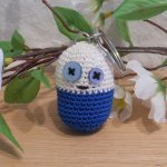 Amigurumi Kawaii Pill Medicine Funny Blue and White Cute Crocheted Keychain