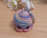 Amigurumi Kawaii Squid Cephalopod Variegated Pastel Cute Crocheted Keychain