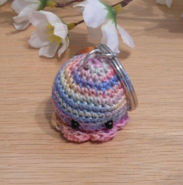 Amigurumi Kawaii Squid Cephalopod Variegated Pastel Cute Crocheted Keychain