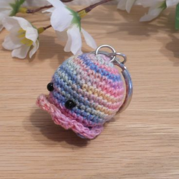 Amigurumi Kawaii Squid Cephalopod Variegated Pastel Cute Crocheted Keychain side