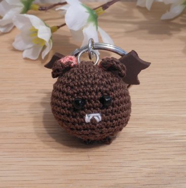 Amigurumi Kawaii Vampire Bat Desmodontinae Brown Cute Crocheted Keychain