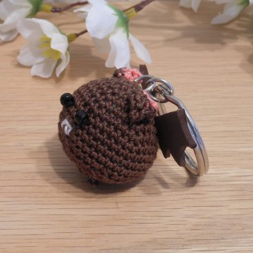 Amigurumi Kawaii Vampire Bat Desmodontinae Brown Cute Crocheted Keychain side