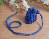 Blue Crocheted Amulet Bag Necklace with Blue Glass Bead Medicine Pouch Talisman Bag Mojo Bag