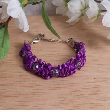 Bracelet Macrame Knots Purple Violet Satin and Acrylic Faceted Beads Streling Silver Chain Closure