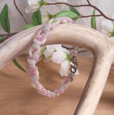 Bracelet Wire Weave Pink Yellow Seed Beads with Acrylic Pearl Rice Beads hanging