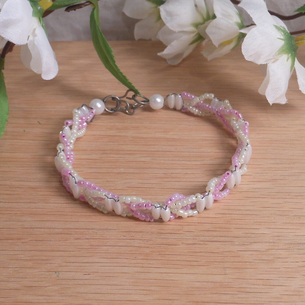 Bracelet Wire Weave Pink Yellow Seed Beads with Acrylic Pearl Rice Beads