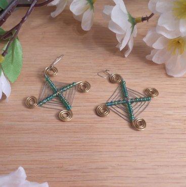 Brass Earrings Green Bead Wire God's Eye Beaded Native American Style Kidney Wire Hook