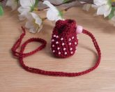 Burgundy Crocheted Amulet Bag Necklace with Pink Glass Bead Medicine Pouch Talisman Bag Mojo Bag