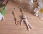 Copper Earrings Wire Hanging Man Noose Hangman Halloween Creepy Shepherd Hook Earwire