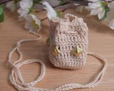 Cream Crocheted Amulet Bag Necklace with Gold Color Diamond Shape Accents Medicine Pouch Talisman Bag Mojo Bag