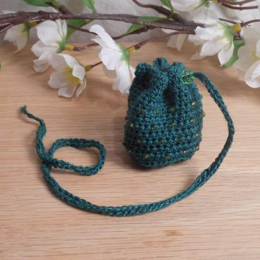 Dark Green Crocheted Amulet Bag Necklace with Light Green Glass Bead Medicine Pouch Talisman Bag Mojo Bag