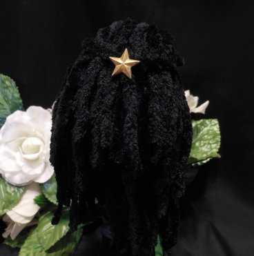 Doll Wig Black Plush Rasta Dread Style Yarn Crocheted Monster Fashion Doll Wig