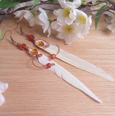 Earrings Amber Brown Bead Cockatiel Feather Wire Wrap Dangle Beaded Jewelry Shepherd Hook Earwire