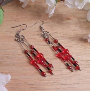 Earrings Black Red Beads Steel Wire Wrap Dangle Beaded Jewelry Shepherd Hook Earwire
