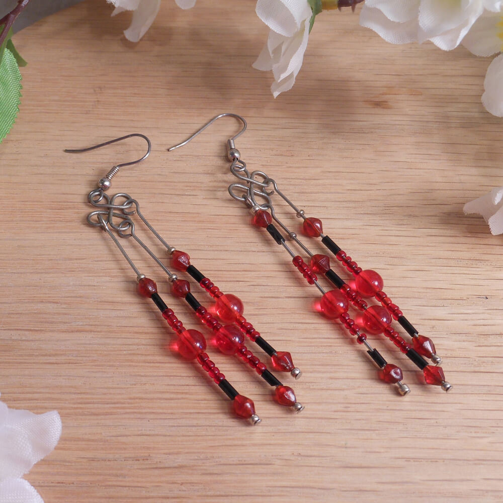 Earrings Black Red Beads Steel Wire Wrap Dangle Beaded Jewelry Shepherd Hook Earwire
