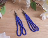 Earrings Cobalt Blue Beads Steel Bead Loop Dangle Beaded Jewelry Shepherd Hook