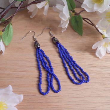 Earrings Cobalt Blue Beads Steel Bead Loop Dangle Beaded Jewelry Shepherd Hook