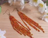 Earrings Fire Orange Glass Beads Bugle Dangle Beaded Jewelry Shepherd Hook
