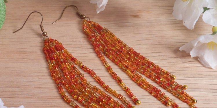 Earrings Fire Orange Glass Beads Bugle Dangle Beaded Jewelry Shepherd Hook