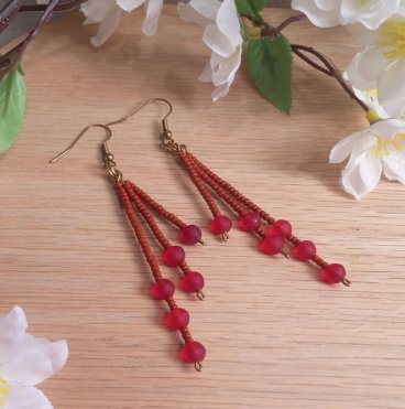 Earrings Round Red Beads Brass Wire Dangle Jewelry Shepherd Hook Earwire