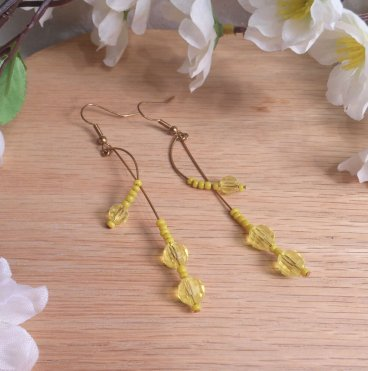 Earrings Yellow Faceted Beads Brass Wire Curves Swoop Beaded Jewelry Shepherd Hook