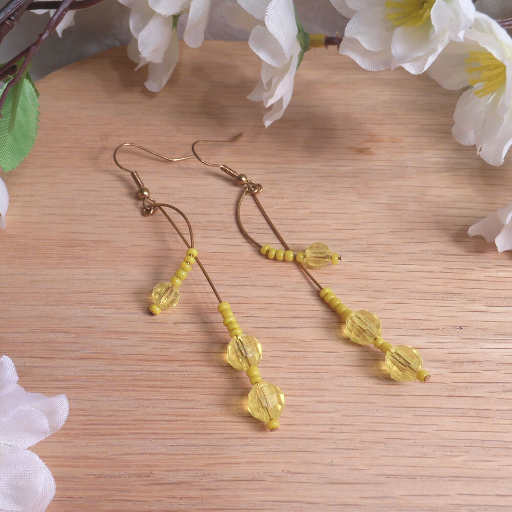 Earrings Yellow Faceted Beads Brass Wire Curves Swoop Beaded Jewelry Shepherd Hook