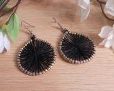 Gold Plated Earrings Black Thread God's Eye Beaded Woven Shepherd Hook