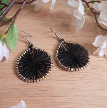 Gold Plated Earrings Black Thread God's Eye Beaded Woven Shepherd Hook