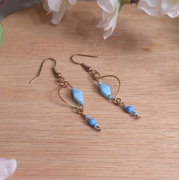 Gold Tone Wire Earrings Baby Blue Beads Shepherd Hook Earwire