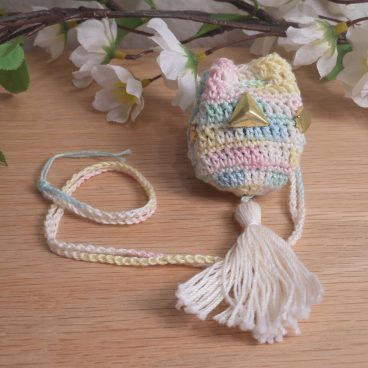 Pastel Variegated Crocheted Amulet Bag Necklace with Gold Color Triangle Shape Accents Medicine Pouch Talisman Bag Mojo Bag