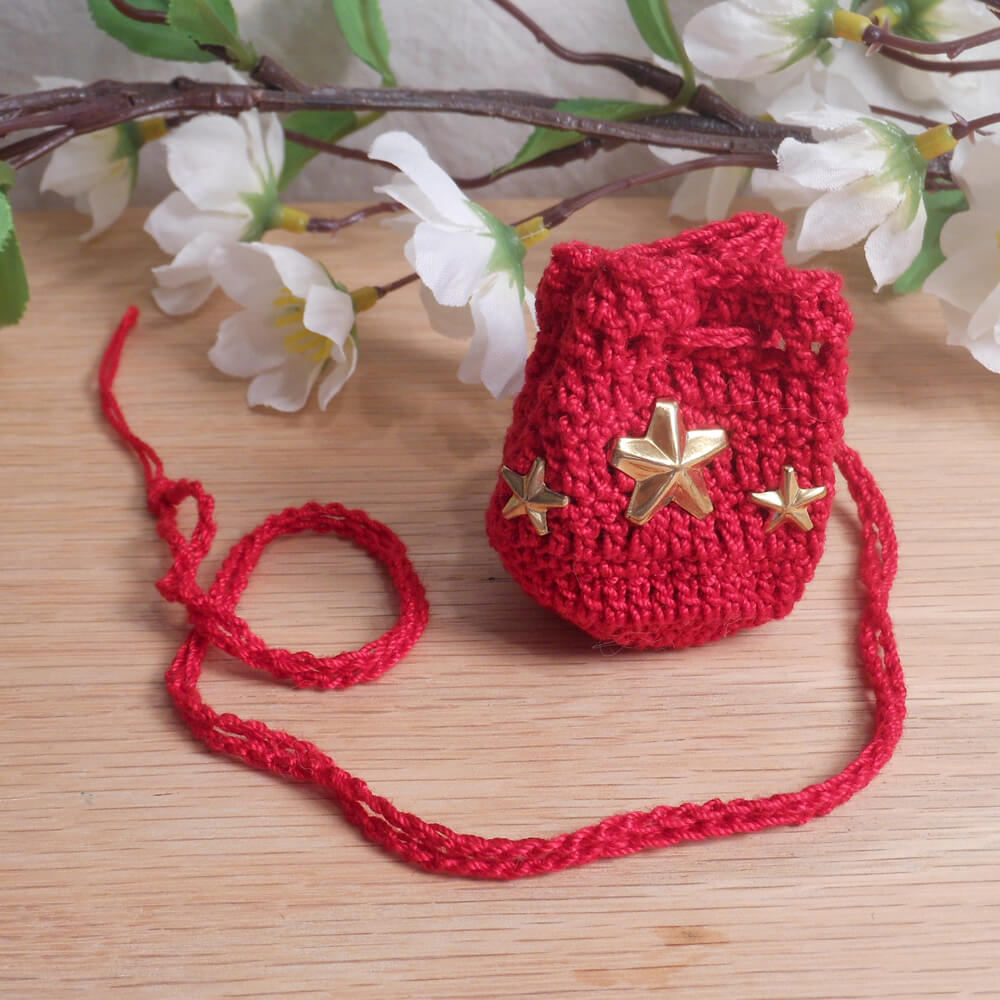 Red Crocheted Amulet Bag Necklace with Gold Color Star Shape Accents Medicine Pouch Talisman Bag Mojo Bag