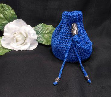 Rune Bag Blue Crocheted Elder Futhark with Steel Beads Blue Runestones Talisman Bag 2