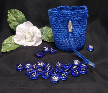 Rune Bag Blue Crocheted Elder Futhark with Steel Beads Blue Runestones Talisman Bag