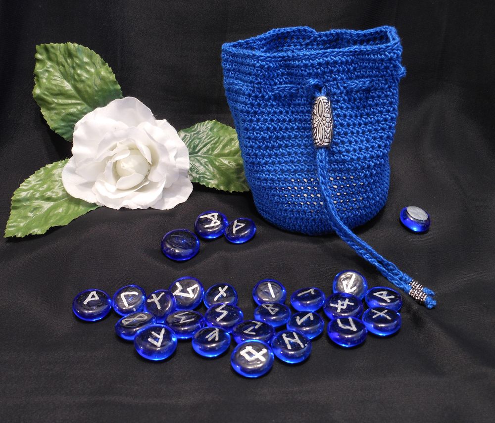 Rune Bag Blue Crocheted Elder Futhark with Steel Beads Blue Runestones Talisman Bag